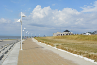 Walkway on Waterfront in the Summer, Norderney, East Frisia Island, North Sea, Lower Saxony, Germany