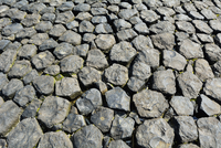 Close-up of Basalt Stones, bank reinforcement, Norderney, East Frisia Island, North Sea, Lower Saxony, Germany