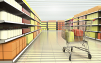 Digital Illustration of Interior of Supermarket with Shopping Cart