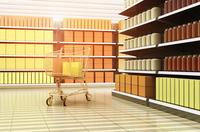 Digital Illustration of Interior of Supermarket with Shopping Cart