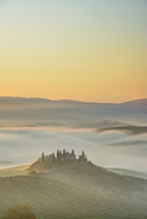 Podere Belvedere near San Quirico d'Orcia at Sunrise, Val d'Orcia, Siena, Tuscany, Italy
