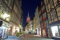 Timber Framed Housing with Gothic Marktkirche Illuminated at Night in Historic Hanover Aldstadt, Lower Saxony, Germany