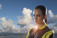 Portrait of Young Woman wearing Diving Gear Outdoors, Italy