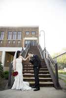 Portrait of Bride and Groom at Bottom of Staircase Outdoors, Hamilton, Ontario, Canada