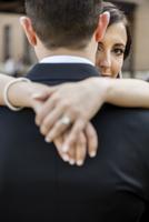 Portrait of Bride and Groom Hugging Outdoors, Hamilton, Ontario, Canada