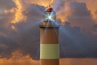 Digital Illustration of Lighthouse at Sunset 11030048590| 写真素材・ストックフォト・画像・イラスト素材|アマナイメージズ