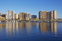 Hotels, Apartments and Boats Reflected in Redeveloped Malaga Port, Malaga, Andalucia, Spain