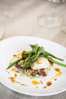 Close-up of black cod fish filet with Chinese sausage and rice side dish and green beans on a dinner plate, at an event, Canada 11030048710| 写真素材・ストックフォト・画像・イラスト素材|アマナイメージズ