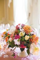 Floral Centerpiece on Set Table