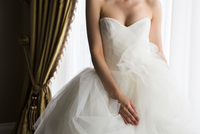 Portrait of Bride in Strapless Wedding Dress, Toronto, Ontario, Canada