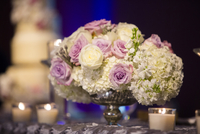 Rose and Hydrangea Centerpieces on Table at Wedding