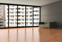 Digital Illustration of Empty Apartment with Crowded View