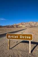 Road Sign for Artist Drive, Death Valley National Park, California, USA