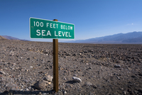 100 Feet Below Sea Level Sign, Death Valley National Park, California, USA