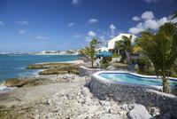 Homes and resorts along the shoreline of Simpson Bay, Sint Maarten, Netherlands Antilles, Caribbean