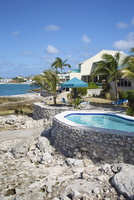 Homes and resorts along the shoreline of Simpson Bay, Sint Maarten, Netherlands Antilles, Caribbean