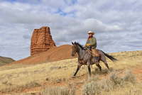 Cowboy Riding Horse with Castel Rock in the background, Shell, Wyoming, USA