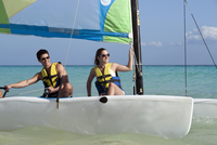 Couple on Catamaran, Reef Playacar Resort and Spa, Playa del Carmen, Mexico