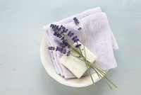 Lavender, Soap and Cloth in Bowl