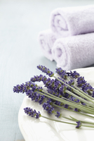 Lavender on Plate with Towels 11030050245| 写真素材・ストックフォト・画像・イラスト素材|アマナイメージズ
