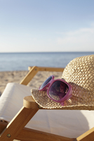 Straw Hat, Sunglasses and Beach Chair, Boltenhagen, Baltic Sea, Germany