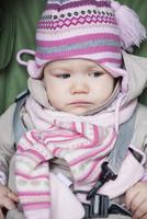 Close-up of Baby Girl Sitting in Car Seat wearing Winter Clothing 11030050748| 写真素材・ストックフォト・画像・イラスト素材|アマナイメージズ