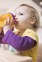 Baby Girl Drinking from Spill Proof Cup