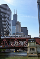 El Train, West Lake Street Bridge, Chicago, Illinois, USA