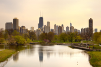 Downtown Skyline and South Pond at Lincoln Park, Chicago, Illinois, USA