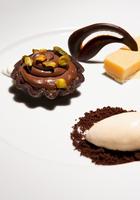 Pistachio Chocolate Mousse, Lemon Square Cheese Cake and Vanilla Bean Ice Cream