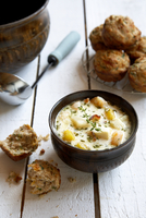 Seafood Chowder and Biscuits