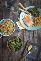 Trout, Rice and Chard Dinner 11030051039| 写真素材・ストックフォト・画像・イラスト素材|アマナイメージズ