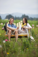 Couple on Bench in Field, Portland, Oregon, USA
