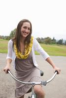 Woman Riding Bike, Oregon, USA