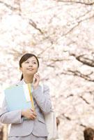 桜の下で通話中のOL