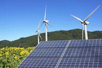 ソーラーパネルと風車とヒマワリ