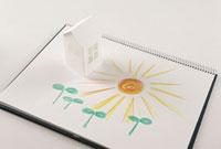 ペーパークラフトの家と双葉と太陽の絵 11031059199| 写真素材・ストックフォト・画像・イラスト素材|アマナイメージズ