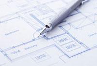 設計図とペン