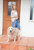 散歩に出かけるゴールデンレトリバーと笑顔の女性