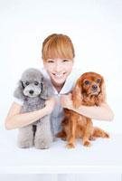 キャバリアとトイプードルを抱き寄せる笑顔の動物看護師