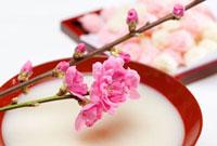 桃の花と甘酒 11031068393| 写真素材・ストックフォト・画像・イラスト素材|アマナイメージズ