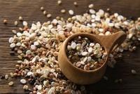 雑穀と木製スプーン 11031069535| 写真素材・ストックフォト・画像・イラスト素材|アマナイメージズ