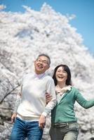 桜の下でスキップをするシニアカップル 11031079976| 写真素材・ストックフォト・画像・イラスト素材|アマナイメージズ