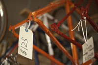Price tag on bicycle frame