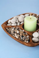 Stones and candle burning
