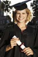 woman in graduation cap and gowns
