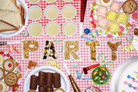 Party food on table in dishes