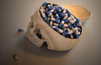 Skull with pills