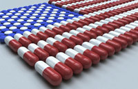 Multiple pills forming flag of USA