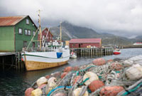 Fishing boat moored on the Lofoten Islands  Norway
